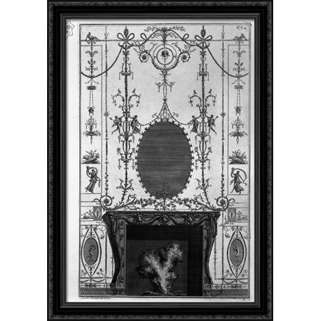 Fireplace: in the frieze of Medusa heads 3 horns of plenty joined by the sides of Aries heads 28x40 Large Black Ornate Wood Framed Canvas Art by Giovanni Battista Piranesi