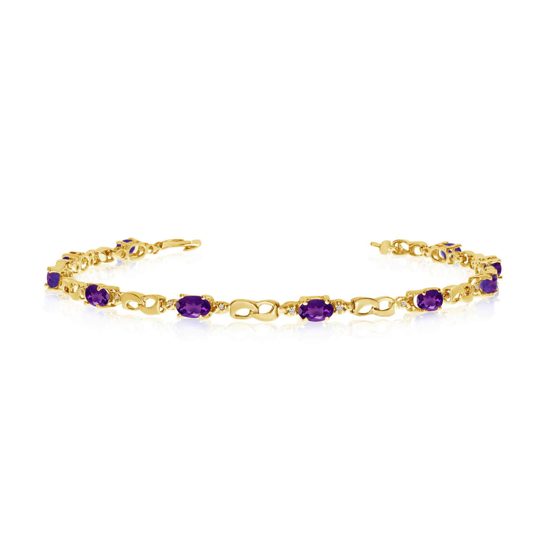 14K Yellow Gold Oval Amethyst and Diamond Link Bracelet