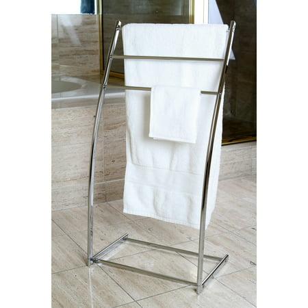 Kingston Brass Pedestal Chrome Iron Towel Rack - silver Brass Chrome Towel Rack