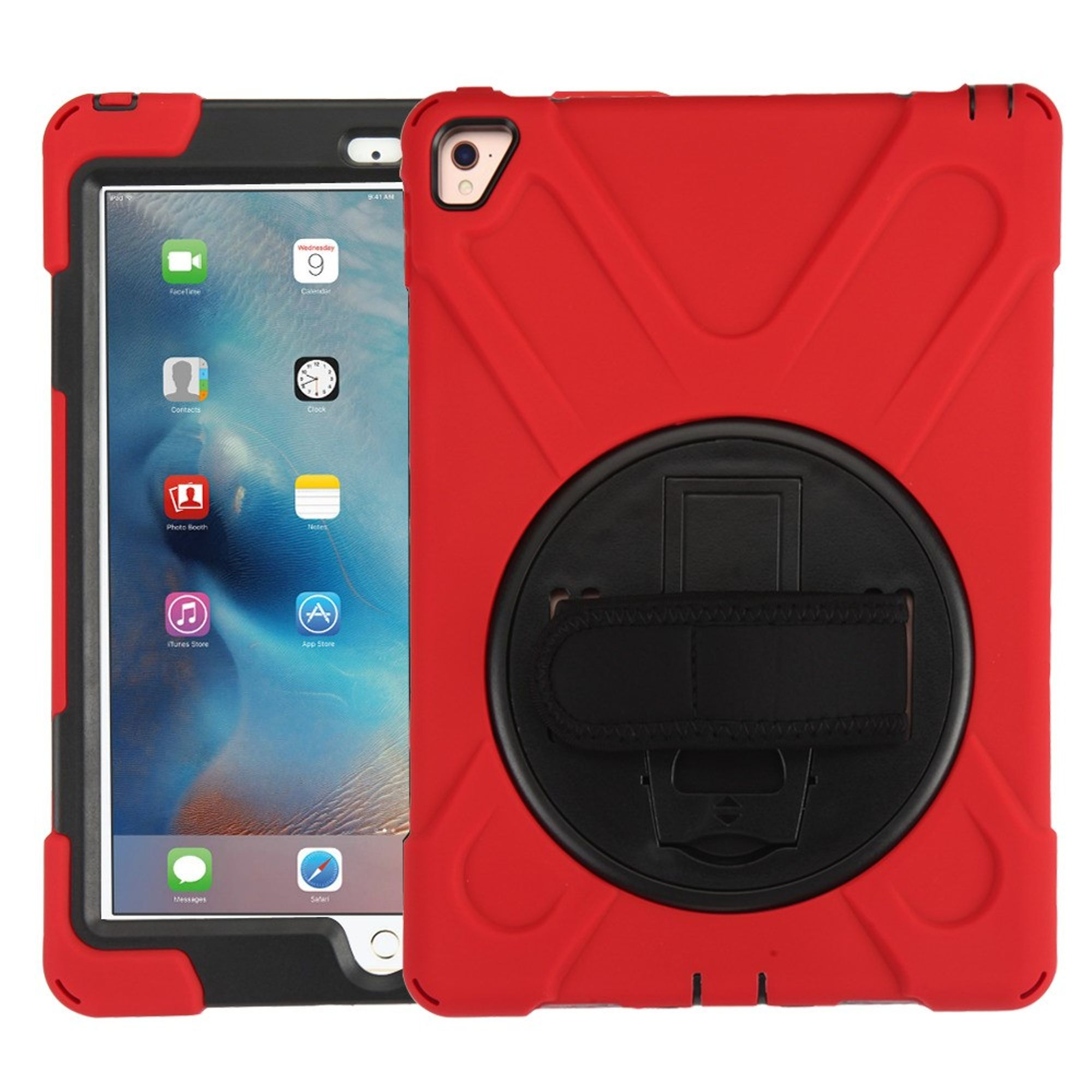 """MyBat Rotatable Stand Hard Dual Layer Plastic TPU Case w/stand For Apple iPad Pro 9.7"""" - Red/Black"""