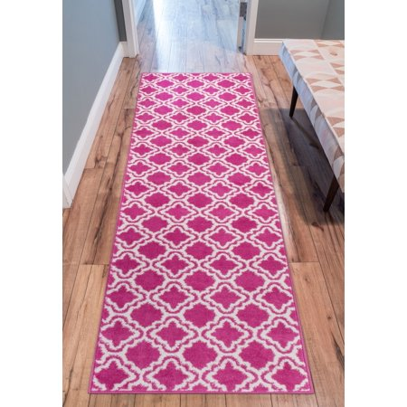Modern Rug Calipso Pink 2'X7'3'' Runner Lattice Trellis Accent Area Rug Entry Way Bright Kids Room Kitchn Bedroom Carpet Bathroom Soft Durable Area Rug ()