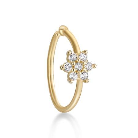 14k Hoop Ring (Lavari - 14K Yellow Gold Cubic Zirconium Flower Open Hoop Nose Ring 20G)