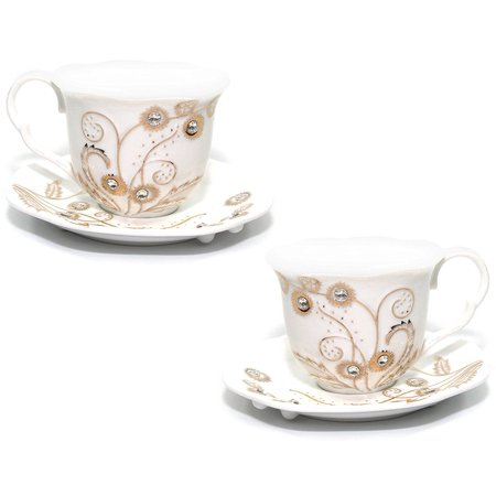 Euro Porcelain Rococo 4-pc Coffee Tea Cup Set, 24K Gold-plated w/ Swarovski Design inlaid Rhinestones, Bejeweled Bone China Cups (8 oz) w/ Square Saucers, Service for 2