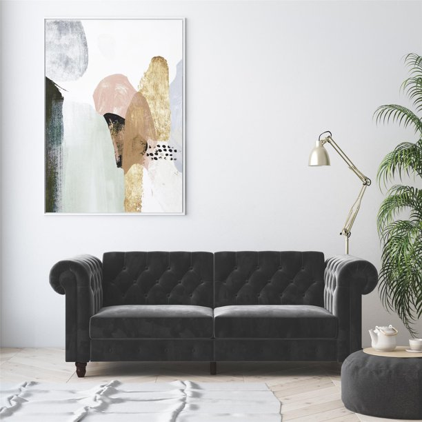 DHP Tamera Coil Sofa Bed, Gray Velvet