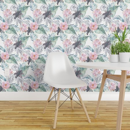 Peel and Stick Removable Wallpaper Lilies Plum Pink Tropical Floral Pu