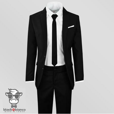 Boys Slim Fit Suit in Black Dresswear Set - Boys Black Suits