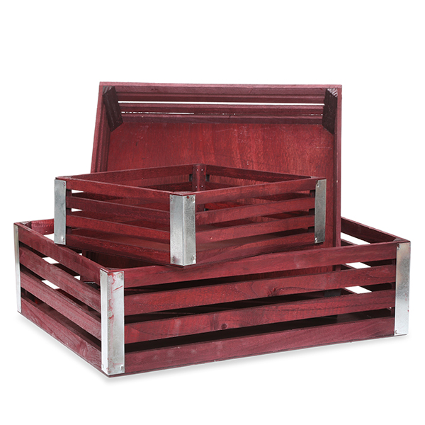 Four Slat Wood Crate - Set of Three