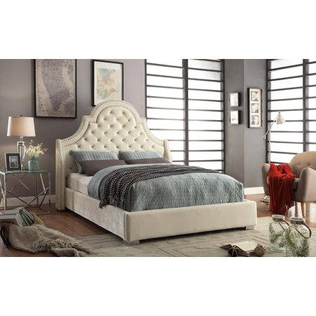 Meridian Madison Queen Size Bed in Cream Chrome Nailheads Contemporary - Contemporary Madison Cream