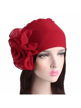0b33e48abf0a41 Product Image Outtop Women Ladies Retro Big Flowers Hat Turban Brim Hat Cap  Pile Cap RD