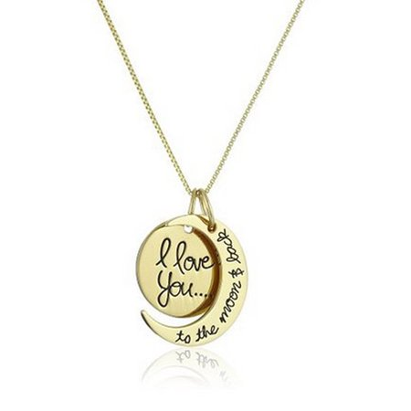 Creative Moon and Sun Shape with I LOVE YOU Letter Pendant Necklace Fashion Elegant Couple Necklace ()