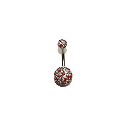 Hypoallergenic Surgical Steel Crystal Bedazzled Ball Belly ring (RED) - Bedazzled Jewels