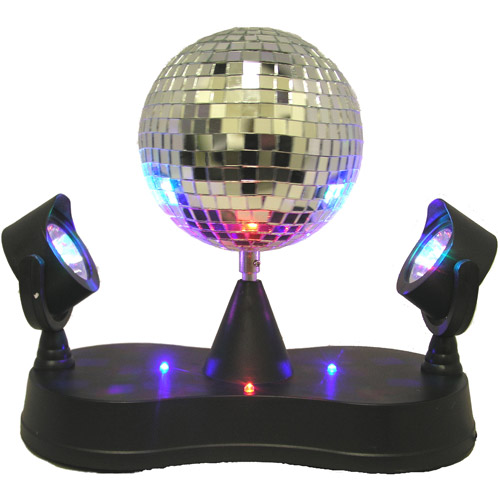 Mirror Ball with Twin Projector Lamp, Black