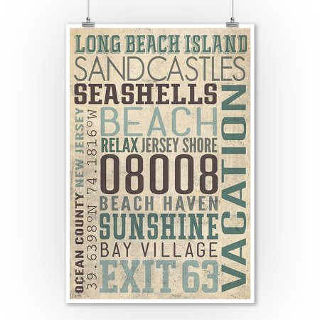 Long Beach Island New Jersey Typography 2 Lantern