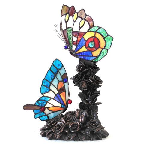 Chloe Lighting Edith 2 Tiffany Style 2 Light Butterfly Table Lamp 10