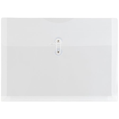 JAM Paper Plastic Envelopes with Button & String Tie Closure, Letter Booklet, 9 3/4 x 13, Clear, 12/Pack