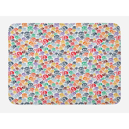 Skull Bath Mat, Halloween Themed Colorful Skulls and Crossbones Funny Cartoon Style Pattern Print, Non-Slip Plush Mat Bathroom Kitchen Laundry Room Decor, 29.5 X 17.5 Inches, Multicolor, Ambesonne - Halloween Skulls Cartoon