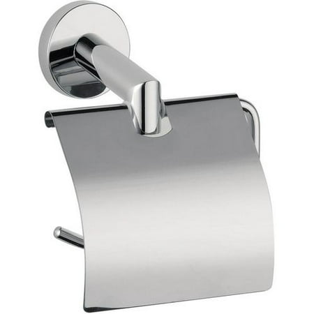 Hilton Wall Toilet Paper Holder With Lid Cover Tissue Roll Dispenser Chrome