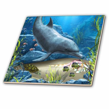 - 3dRose A dolphin swims in the ocean with turtle fishes and more - Ceramic Tile, 4-inch
