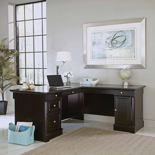 Sauder Palladia L-Desk, Waxed Black