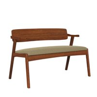 Homesvale Dorno Mid Century Modern Arm Dining Bench with Cherry Wood Back
