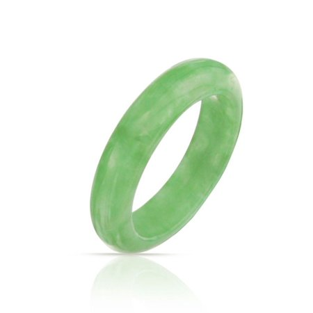 Simple Gemstone Eternity Stackable Dyed Green Jade Band Ring For Women For Teen August - Green Stone Cocktail Ring