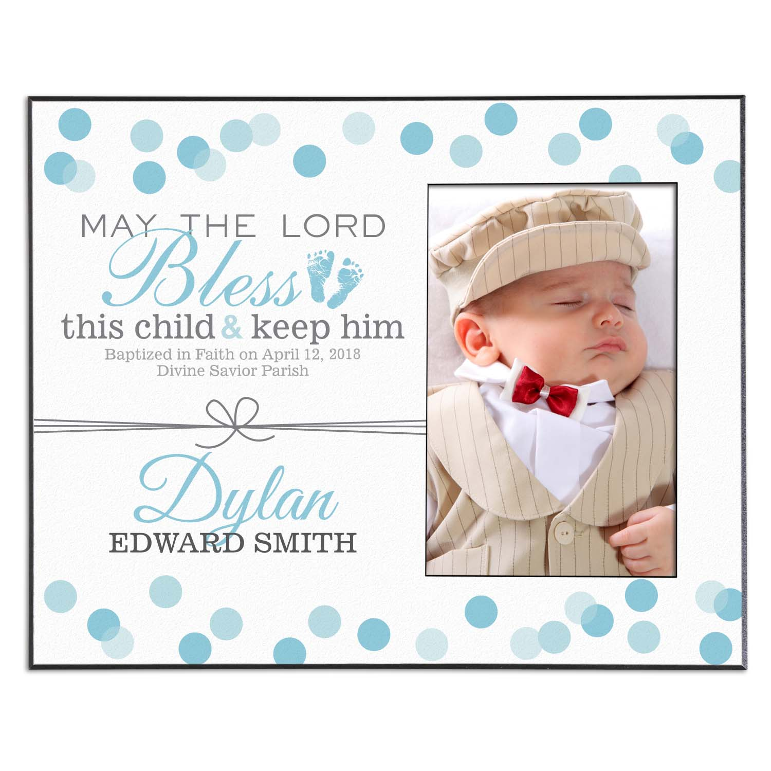 Personalized Baptismal Prayer Keepsake Frame, Available in Blue or Pink