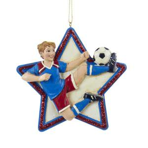 "4"" RESIN BOY SOCCER STAR Ornament"