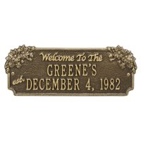 Personalized Whitehall Products Daisy Welcome House Plaque with Antique Brass Finish