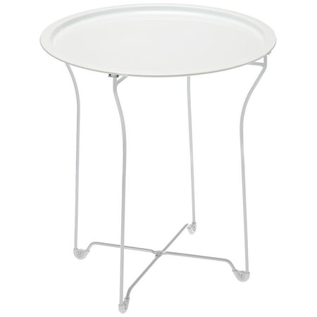 Atlantic Metal Folding Side Table or Snack/ TV Tray, White