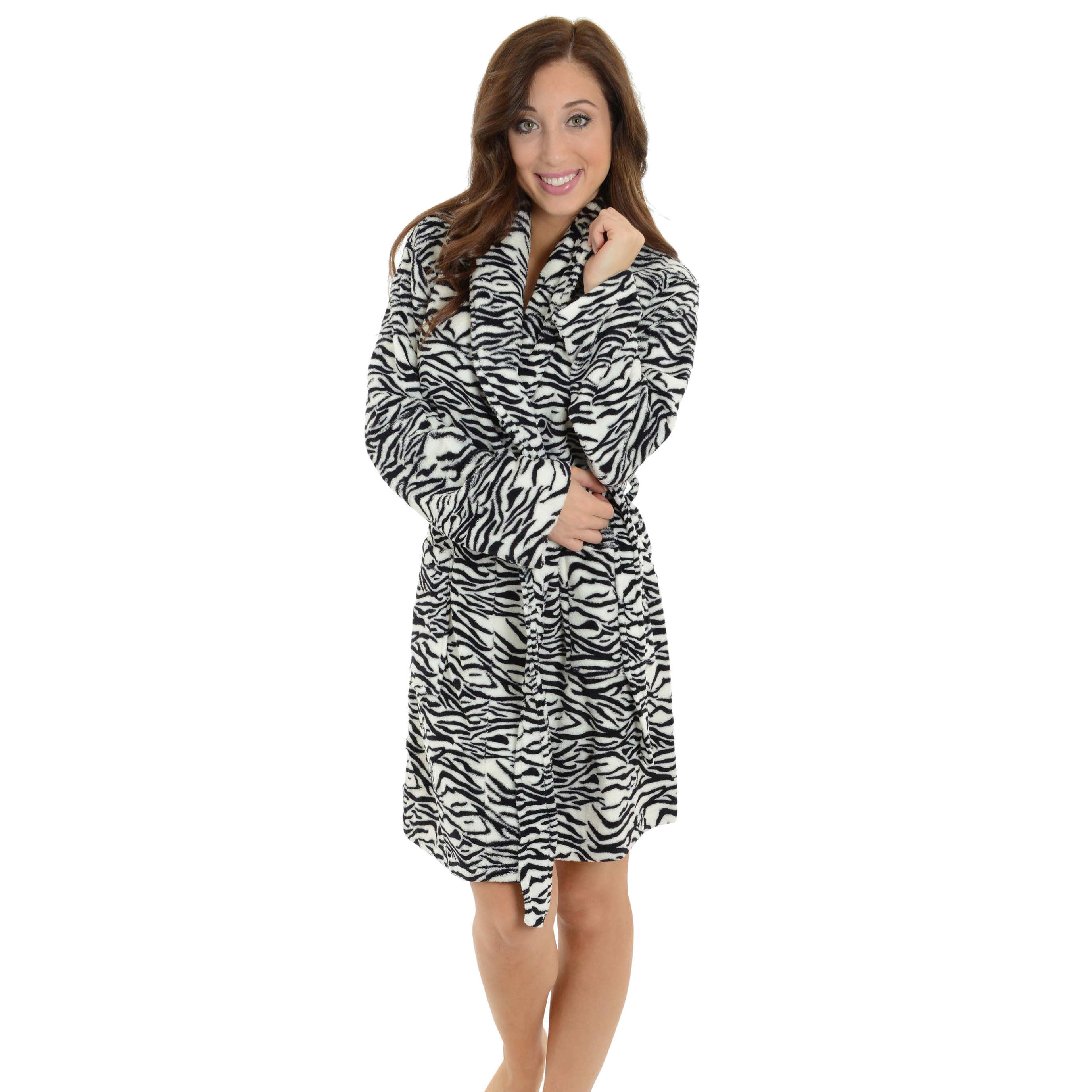 Totaly Pink - Short Fleece Robe Women Black and White Zebra Print Bathrobe  Animal Print Robe - Walmart.com 9c60def7a