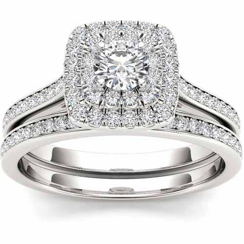 Imperial 3/4 Carat T.W. Diamond 10kt White Gold Double Halo Engagement Ring Set