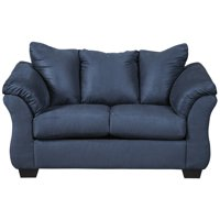 """67"""" Blue Microfiber Loveseat with Fixed Pillow Back Cushions"""