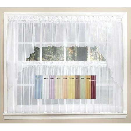 emelia sheer taupe 24 kitchen curtain tier. Black Bedroom Furniture Sets. Home Design Ideas