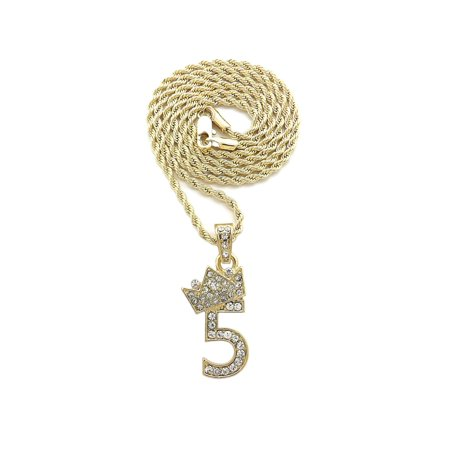 Stone Stud Tilted Crown Number Micro Pendant with 2mm Rope Chain Necklace, #5/Gold-Tone/18