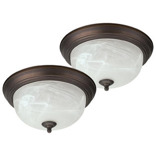 "Oil Rubbed Bronze Flush Mount Ceiling Light Fixture Globe 13"" Alabaster Glass Shade - 2 Pack"