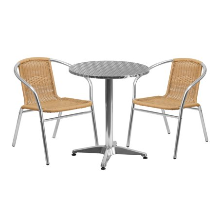 Flash Furniture 23.5'' Round Aluminum Indoor-Outdoor Table with 2 Rattan Chairs, Multiple Colors