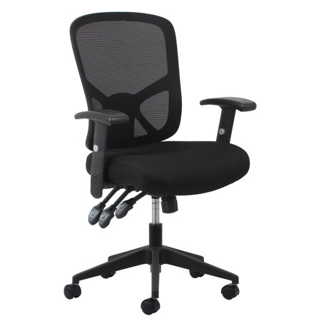 OFM Essentials Collection 3-Paddle Ergonomic Mesh High-Back Office Chair with Arms and Lumbar Support, in Black