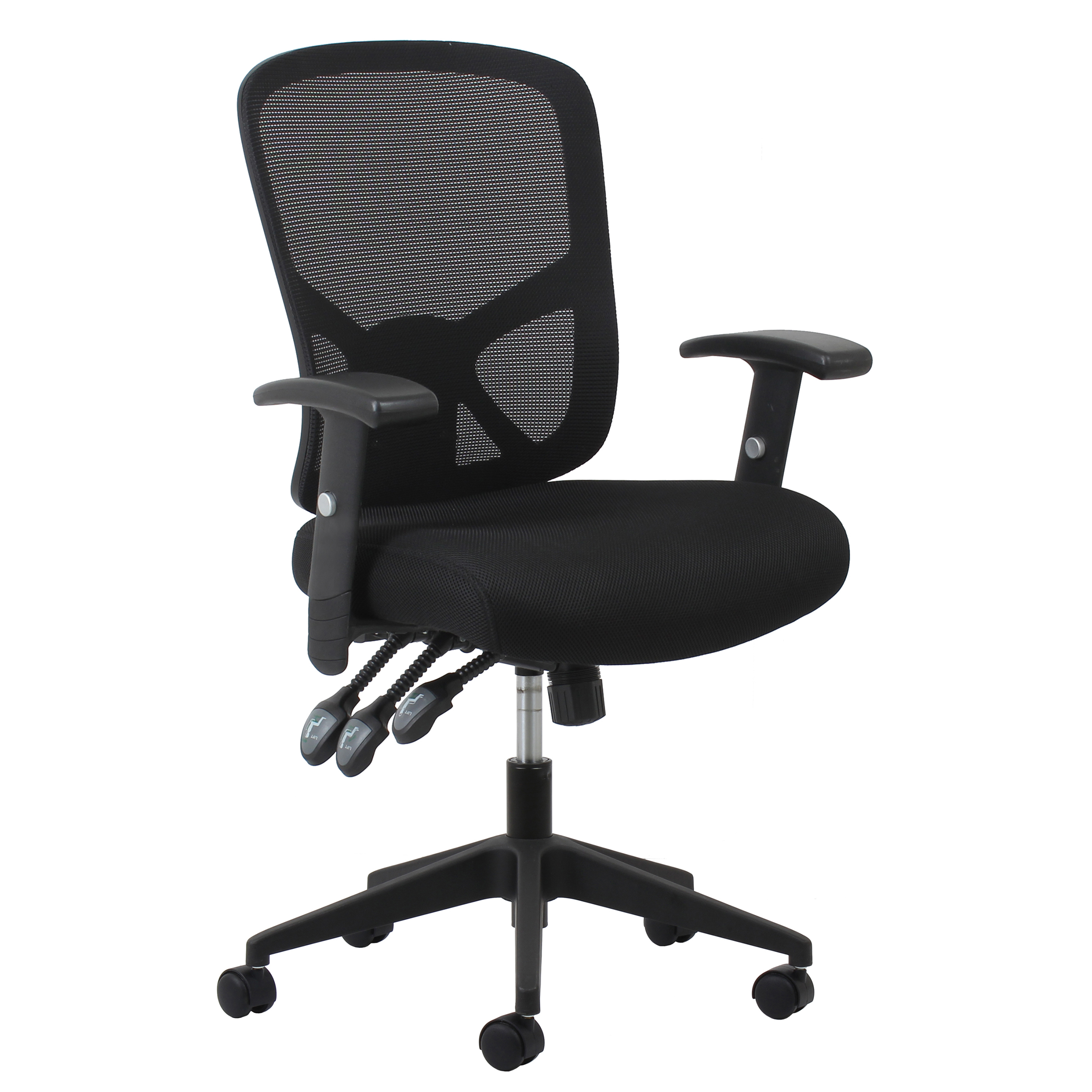 Essentials by OFM ESS-3050 3-Paddle Ergonomic Mesh High-Back Task Chair with Arms and Lumbar Support, Black