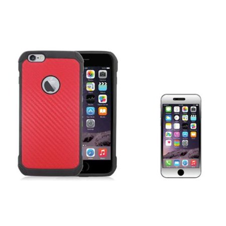 Insten Carbon Fiber Hard Hybrid Case For iPhone 6s Plus / 6 Plus - Red/Black (with Tempered Glass LCD Protector)
