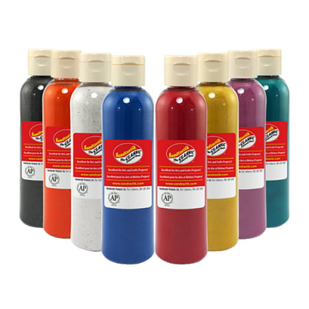 Sandtastik Scenic Art Sand Shaker Tops, 10 oz Bottle, Assorted Color, Set of 8 - Sand Bottle