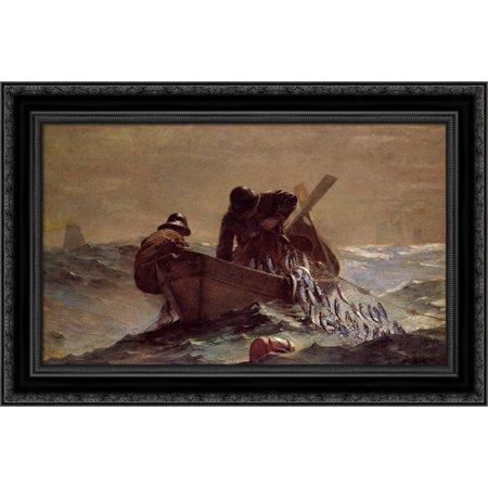 The Herring Net 24x18 Black Ornate Wood Framed Canvas Art by Homer, Winslow