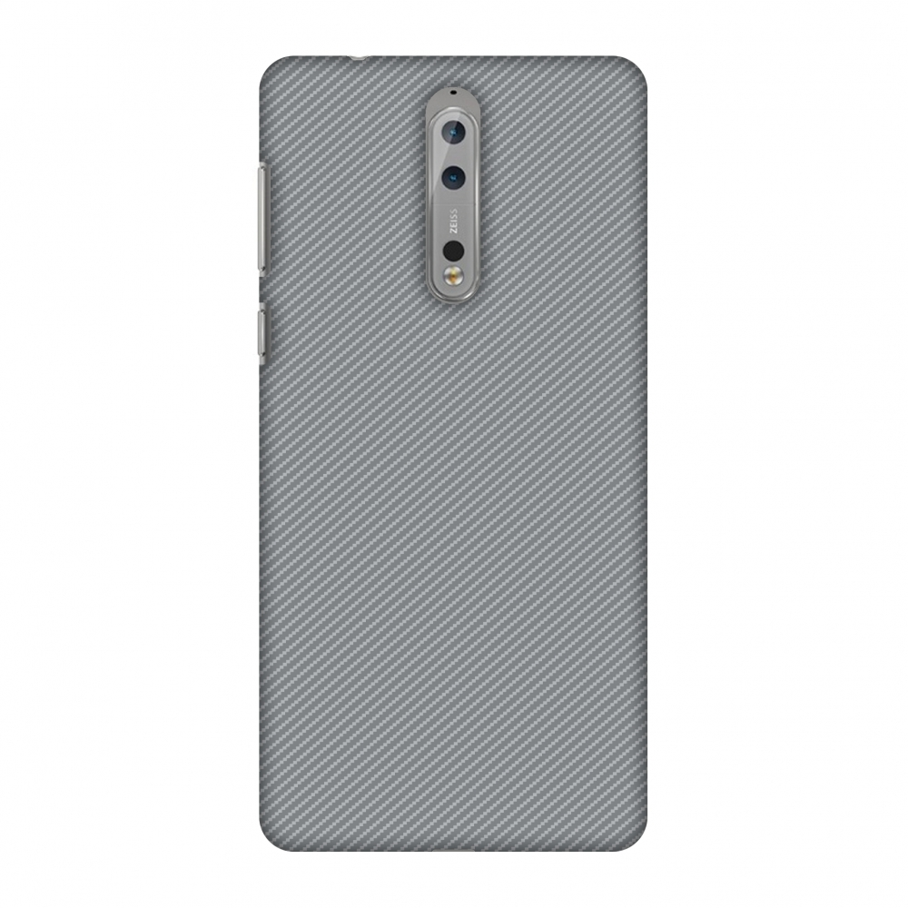 Nokia 8 Case, Premium Handcrafted Designer Hard Shell Snap On Case Printed Back Cover with Screen Cleaning Kit for Nokia 8, Slim, Protective - Carbon Fibre Redux Stone Gray 16