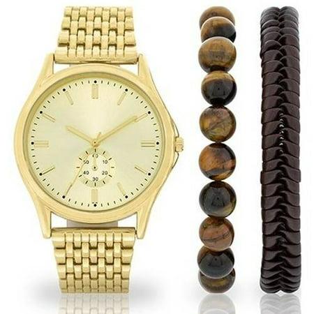 men s gold tone watch and bracelet set walmart com men s gold tone watch and bracelet set