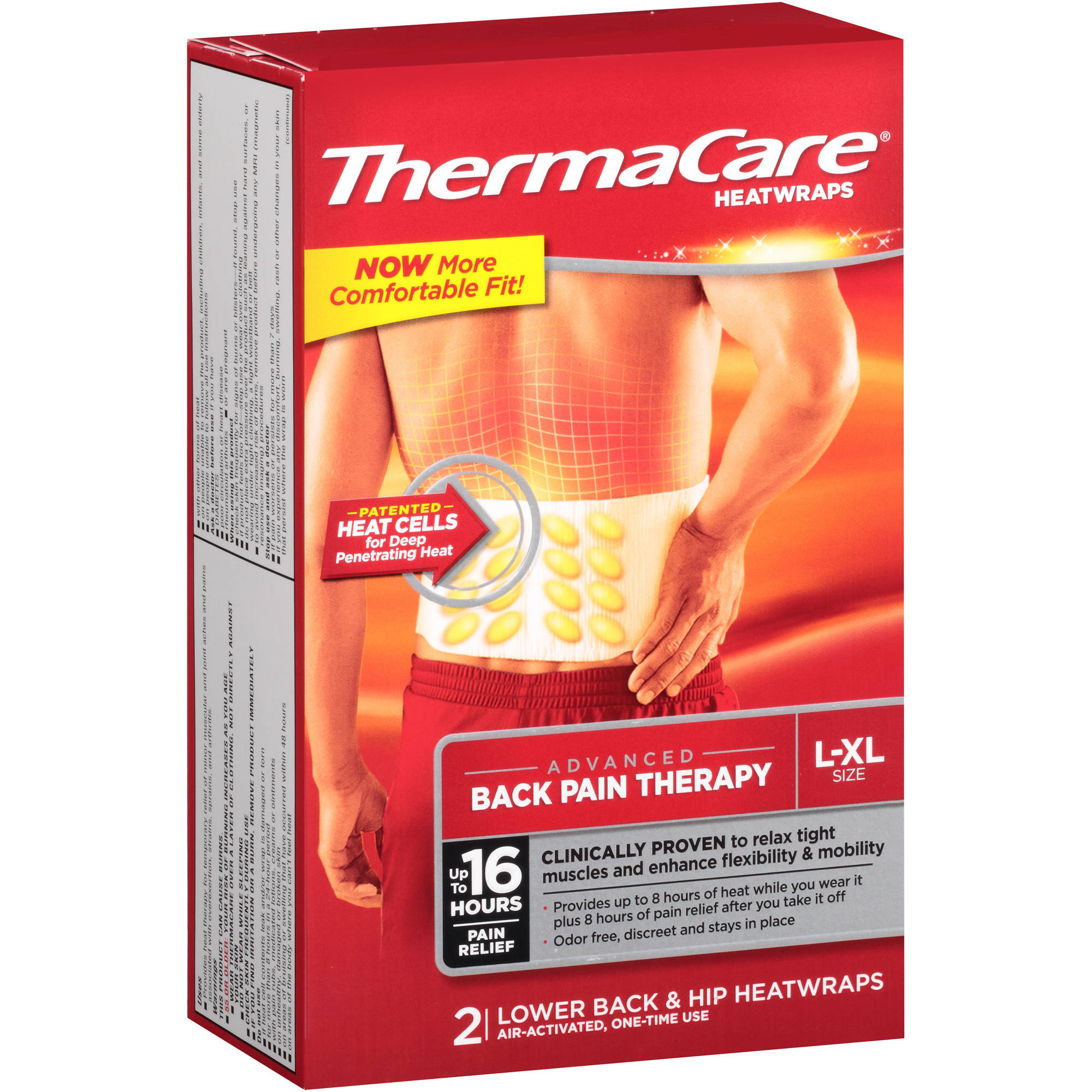 Thermacare Lower Back & Hip Pain Therapy Heatwraps 2 Ct