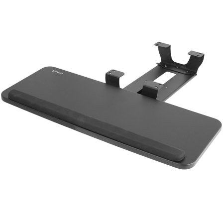 VIVO Adjustable Under Desk Keyboard Mouse Sliding Tray Mount and Dual Spacer Bracket Combo (MOUNT-KB03B-KIT1) Sliding Keyboard Mouse Tray