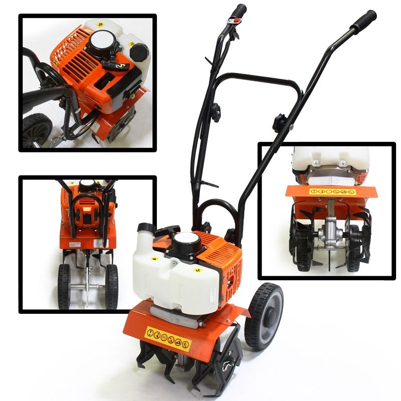 "GHP 40CC Displacement 10"" Cultivation Width 2-Stroke Engine Garden Grass Tiller"