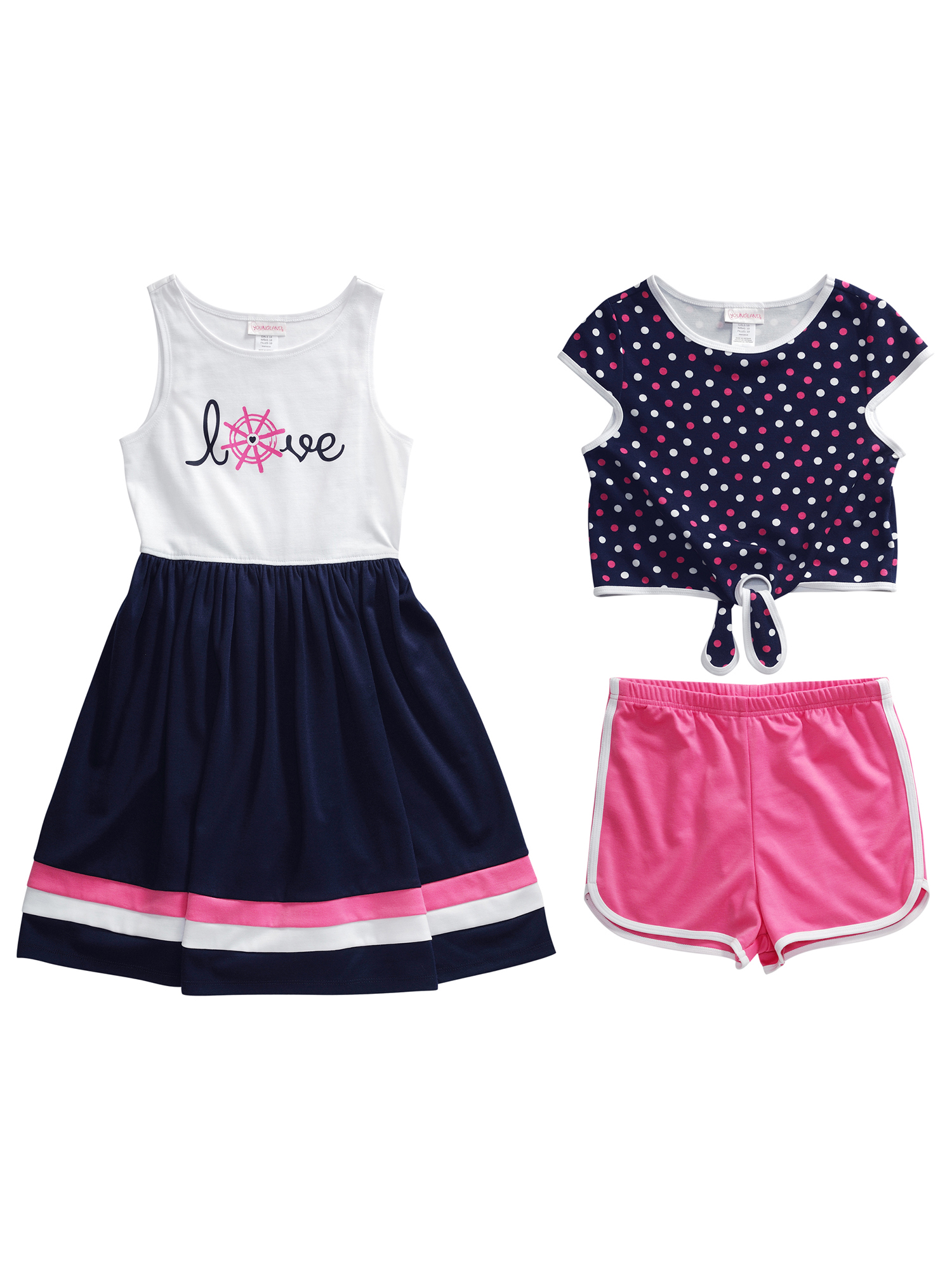 Little Girls' 4-6X Dress, Top, and Shorts 3-Piece Outfit Set