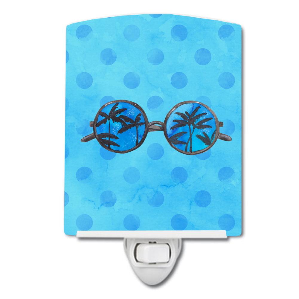 Sunglasses Blue Polkadot Ceramic Night Light