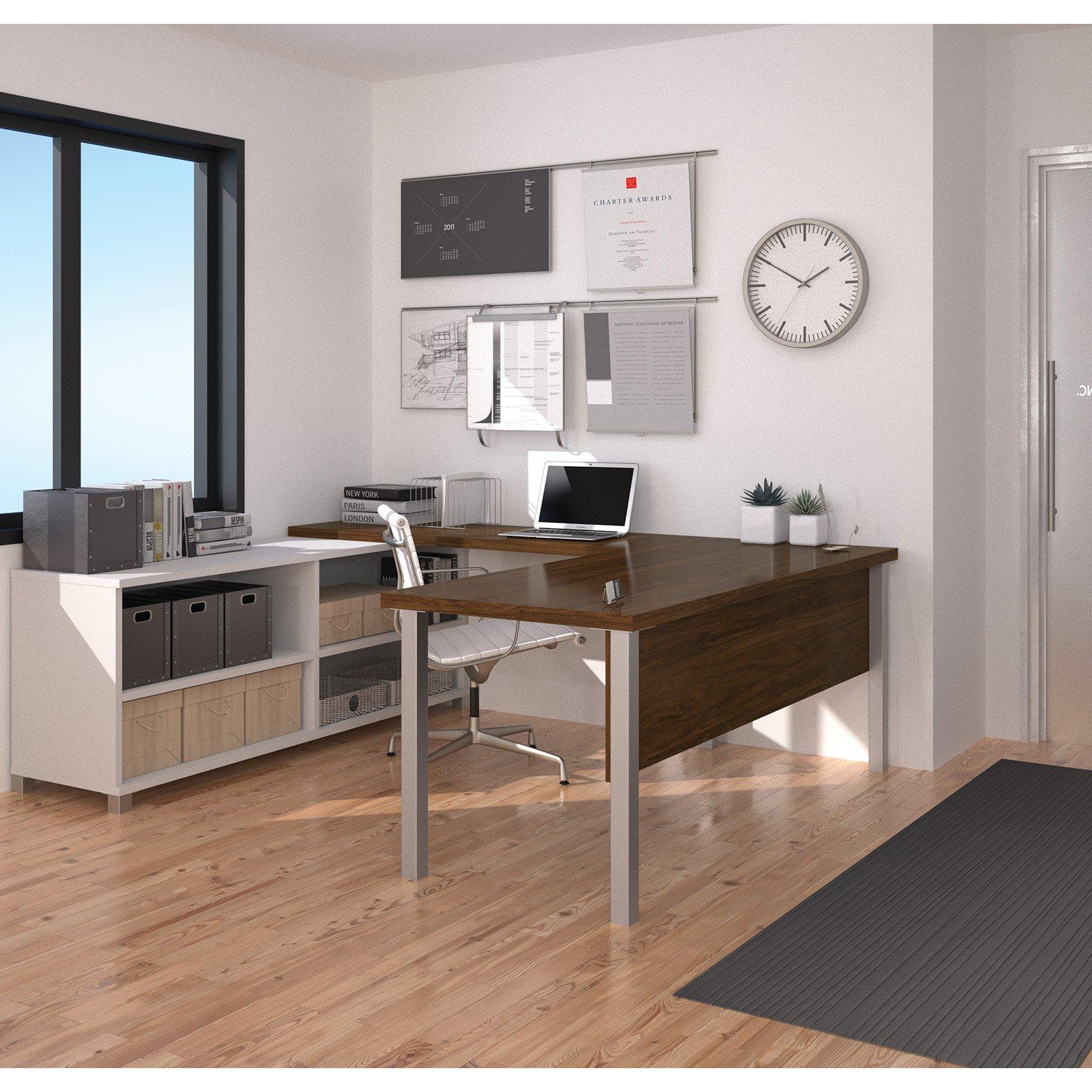 Bestar Pro-Linea U-Desk, White & Oak Barrel