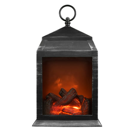 NorthPoint Fireplace LED Lantern with 6 Super Bright LEDs and 36 Lumen Output. Battery Operated Hanging and / or sitting lantern for Indoor and Outdoor usage - Silver - Battery Operated Lanterns